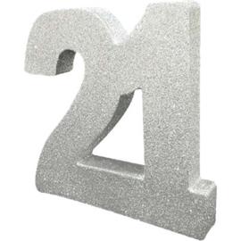 Glitter Zilver Tafeldecoratie 21 jaar