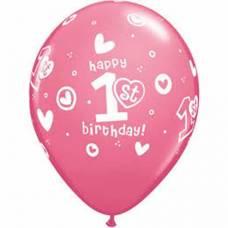 Helium ballon 1 jaar rose