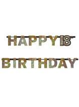 Letter Slinger Happy 18th Birthday Gold Sparkling Celebration