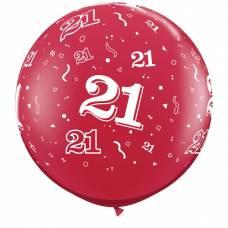 3ft (90cm) ballon cijfer 21 rood