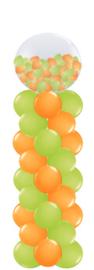 Ballonnenpilaar met  top ballon gevuld met 5 inch ballonnen