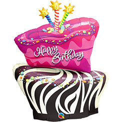 Birthday Funky Zebra Supershape Folie Ballon