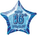 16th Star Foil Balloon Blue