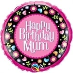 Birthday Mum Pink & Floral Border