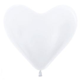 Harten Ballonen Metalic Wit