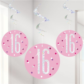 Pink Birthday Glitz 16 Hanging Swirls