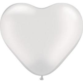 3ft (90cm) Harten ballon wit