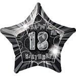 18th Star Foil Balloon Black