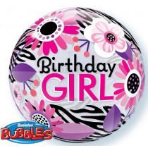 Happy B-Day Zebra Stripes Bubble Ballon