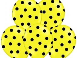 Pastel Geel/Zwart Dots Ballonnen