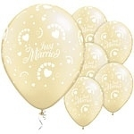 Ballon Just Married Ivory Hearts