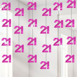 21th Birthday Hot Pink Hanging String Decoration