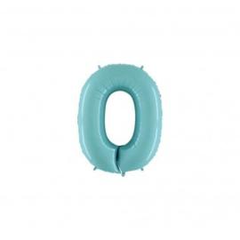 Folieballon cijfer 0 licht blauw
