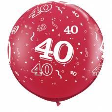 3ft (90cm) ballon cijfer 40 rood