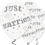 Ballon Just Married wit met zilver