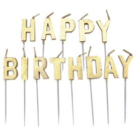 Happy Birthday Kaarsen Goud