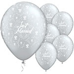 Ballon Just Married Flowers Silver