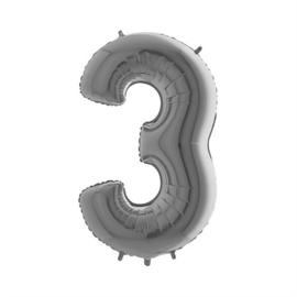Folieballon cijfer 3 zilver