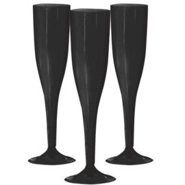 Plastic Champagneglazen Zwart