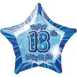 18th Star Foil Balloon Blue