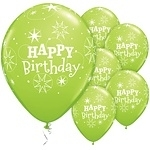 Ballonnen birthday  sparkle limegreen