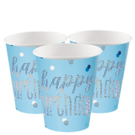 Blue Birthday Glitz Cups