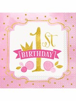Pink & Gold  1st Birthday Servetten