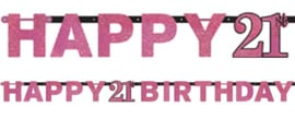Letter Slinger Happy 21th Birthday Pink Sparkling Celebration