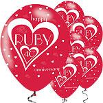 Ballonnen happy ruby anniversary rood