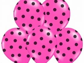 Pastel Zwart/Fuchsia Dots Ballonnen