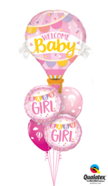 Welcome Baby Girl Hot Air Balloon Ballonnenboeket