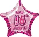 16th Star Foil Balloon Pink
