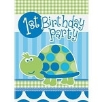 Turtle 1st Birthday Uitnodiging