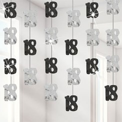 18th Birthday Black Hanging String Decoration