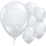 Ballonnen happy anniversary zilver