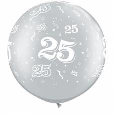 3ft (90cm) ballon cijfer 25 zilver