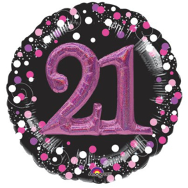 Pink Sparkling 21th Celebration 3D Folie Ballon