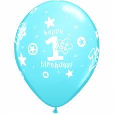 Helium ballon 1 jaar lichtblauw
