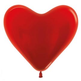 Harten Ballonen Metalic Rood