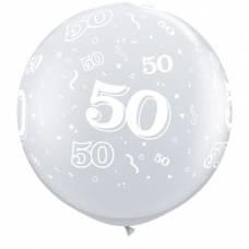 3ft (90cm) ballon cijfer 50 transparant