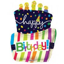 Happy B-Day Cake Supershape Folie Ballon
