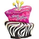 Birthday Funky Zebra Stripe Foil