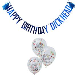 Happy Birthday Dickhead Letter Slinger en Ballonnen
