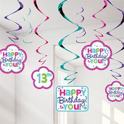 happy Birthday Hanging Swirls