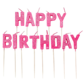 Pink Glitz Happy Birthday Pick Candles