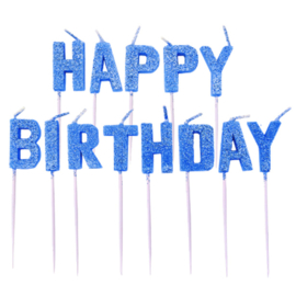 Blue Glitz Happy Birthday Pick Candles