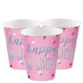 Pink Birthday Glitz Cups