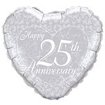 25th Anniversary  Heart Balloon
