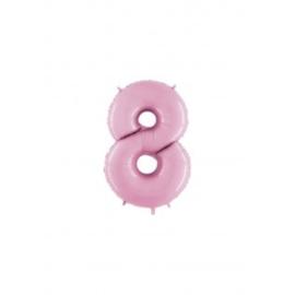 Folieballon cijfer 8 rose
