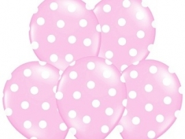 Pastel Roze/Wit Dots Ballonnen